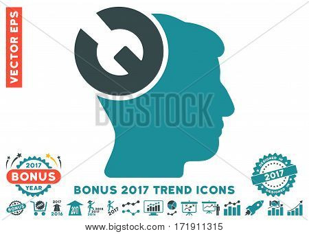 Soft Blue Head Surgery Wrench pictograph with bonus 2017 trend design elements. Vector illustration style is flat iconic bicolor symbols white background.