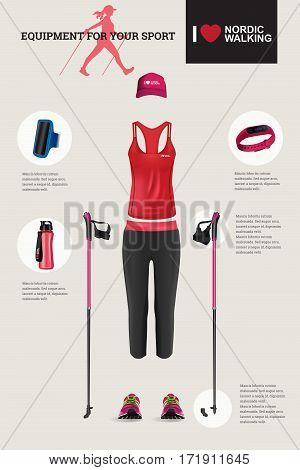 Vector illustration of set with Nordic Walking equipment. Realistic illustration of summer sport accessories and clothes for woman.