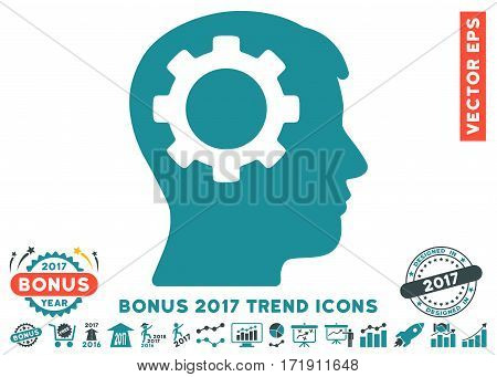 Soft Blue Intellect Gear pictograph with bonus 2017 trend clip art. Vector illustration style is flat iconic bicolor symbols white background.