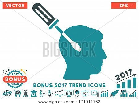 Soft Blue Intellect Screwdriver Tuning pictogram with bonus 2017 trend pictograms. Vector illustration style is flat iconic bicolor symbols white background.