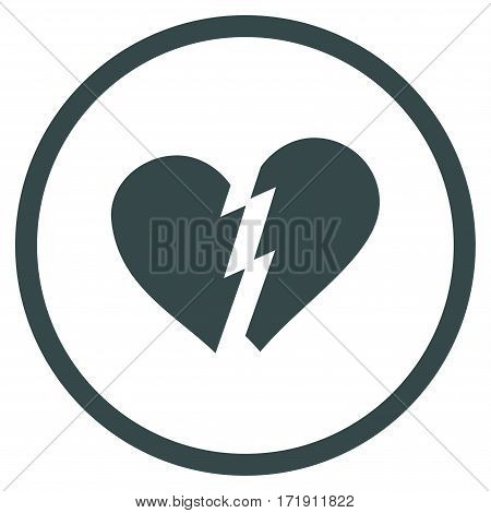 Broken Heart rounded icon. Vector illustration style is flat iconic bicolor symbol inside circle, soft blue colors, white background.