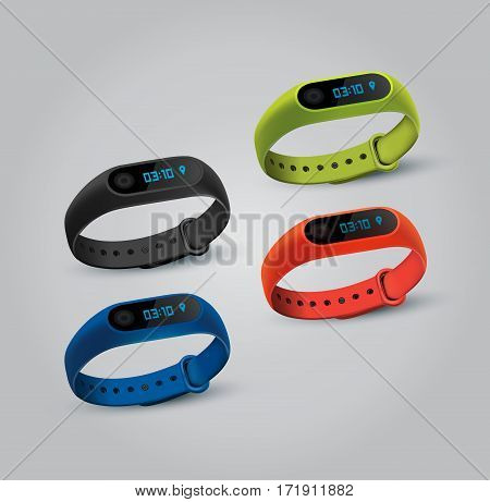 Vector illustration of sport accessories. Realistic illustration of fitness Smart Watch.