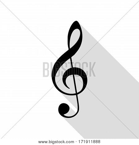 Music violin clef sign. G-clef. Treble clef. Black icon with flat style shadow path.