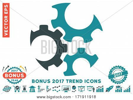 Soft Blue Mechanics Gears pictograph with bonus 2017 trend pictograph collection. Vector illustration style is flat iconic bicolor symbols white background.