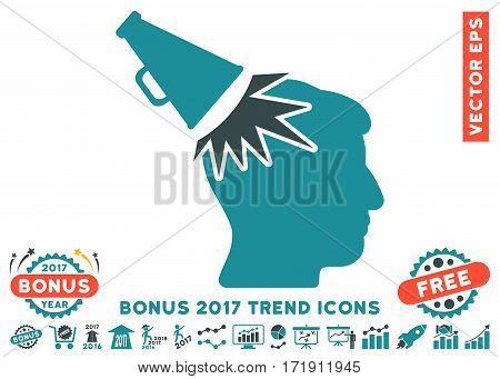 Soft Blue Megaphone Impact Head icon with bonus 2017 trend icon set. Vector illustration style is flat iconic bicolor symbols white background.