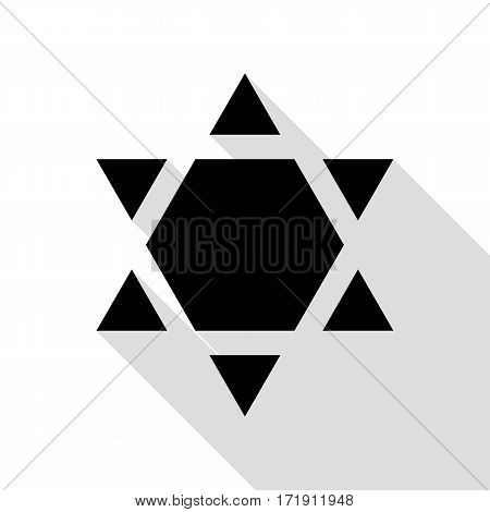 Shield Magen David Star Inverse. Symbol of Israel inverted. Black icon with flat style shadow path.