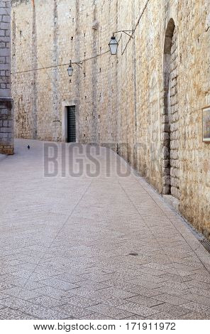 DUBROVNIK, CROATIA - NOVEMBER 30: Narrow street inside Dubrovnik old town, Croatia on November 30, 2015.