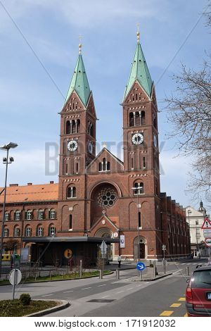 MARIBOR, SLOVENIA - APRIL 03: Franciscan church St Mary Mother of Mercy in Maribor, Slovenia on April 03, 2016.