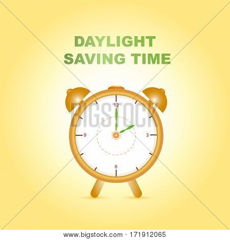 Daylight saving time with clock on gradient yellow background