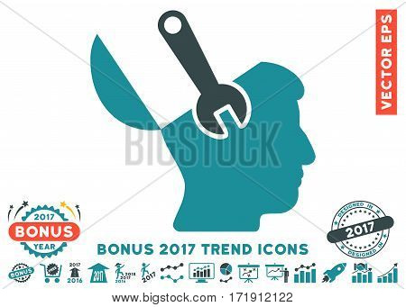 Soft Blue Mind Wrench Surgery pictograph with bonus 2017 year trend elements. Vector illustration style is flat iconic bicolor symbols white background.