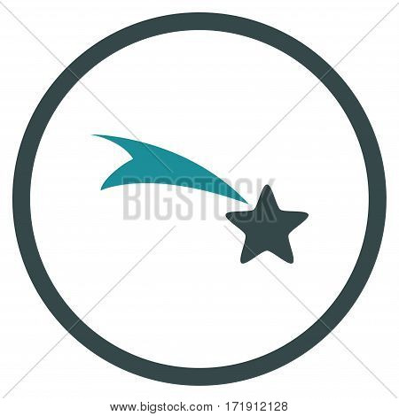 Falling Star rounded icon. Vector illustration style is flat iconic bicolor symbol inside circle, soft blue colors, white background.
