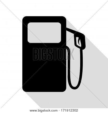 Gas pump sign. Black icon with flat style shadow path.