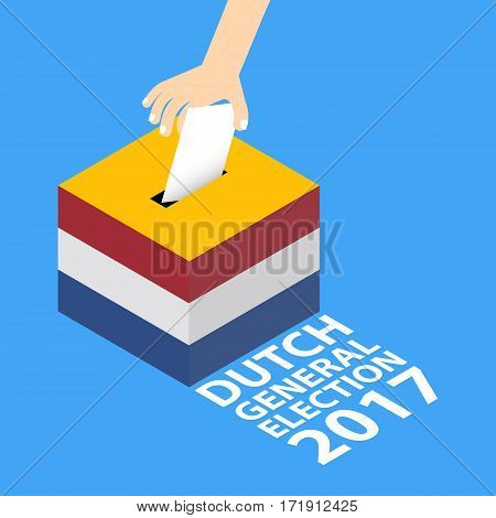 Dutch General Election 2017 Vector Illustration Flat Style - Hand Putting Voting Paper in the Ballot Box