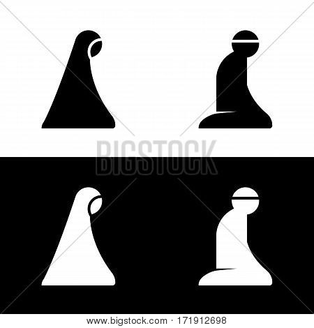 Islamic Prayer Room Area Sign Symbol Logo Icon Vector Illustration