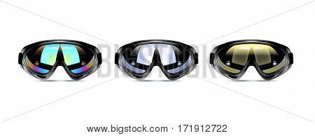 Vector illustration of winter ski goggles for men. Realistic illustration of sport glasses.