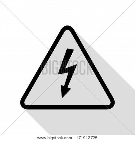 High voltage danger sign. Black icon with flat style shadow path.
