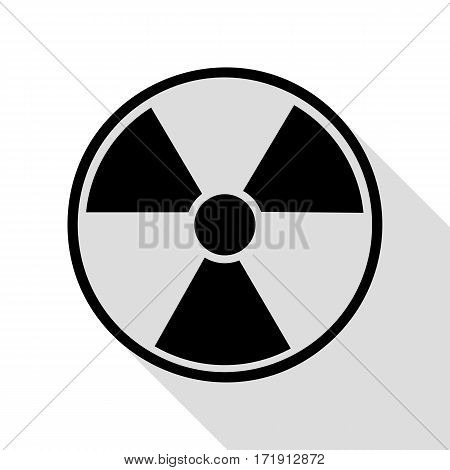 Radiation Round sign. Black icon with flat style shadow path.