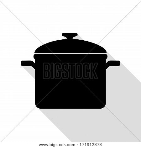 Cooking pan sign. Black icon with flat style shadow path.