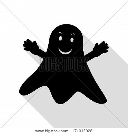 Ghost isolated sign. Black icon with flat style shadow path.