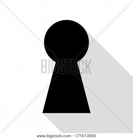 Keyhole sign illustration. Black icon with flat style shadow path.