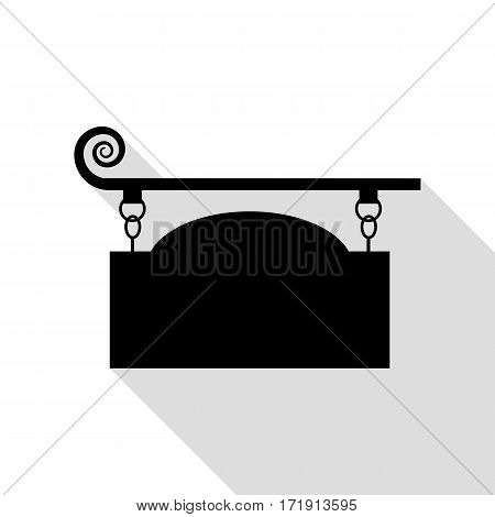 Wrought iron sign for old-fashioned design. Black icon with flat style shadow path.