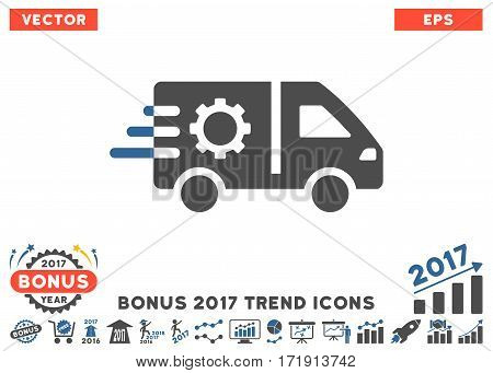 Cobalt And Gray Service Car pictograph with bonus 2017 year trend design elements. Vector illustration style is flat iconic bicolor symbols white background.