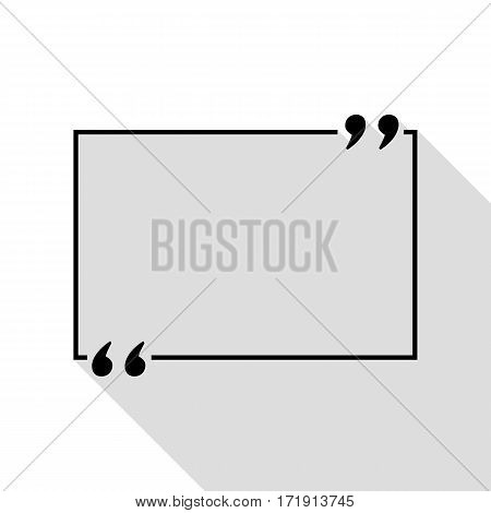 Text quote sign. Black icon with flat style shadow path.