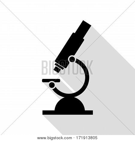 Chemistry microscope sign for laboratory. Black icon with flat style shadow path.