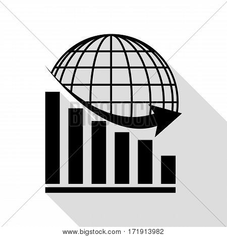 Declining graph with earth. Black icon with flat style shadow path.