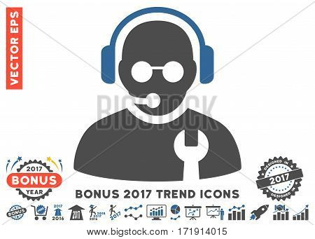 Cobalt And Gray Service Operator pictogram with bonus 2017 year trend pictures. Vector illustration style is flat iconic bicolor symbols white background.