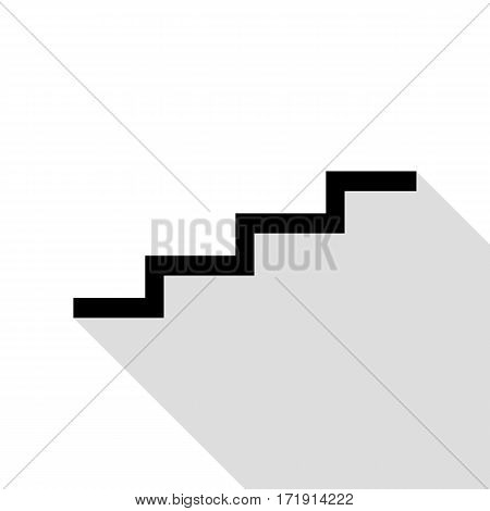 Stair up sign. Black icon with flat style shadow path.