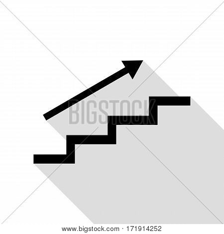 Stair with arrow. Black icon with flat style shadow path.