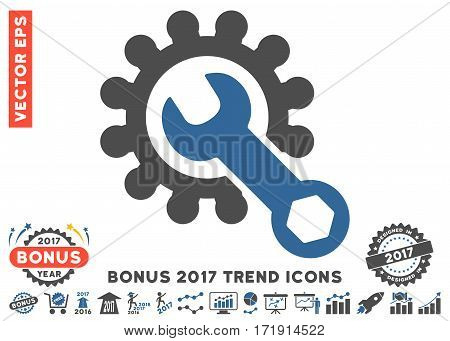 Cobalt And Gray Service Tools pictograph with bonus 2017 year trend pictograph collection. Vector illustration style is flat iconic bicolor symbols white background.