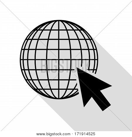 Earth Globe with cursor. Black icon with flat style shadow path.