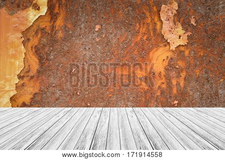 Metal Rust Wall Texture With Wood Terrace