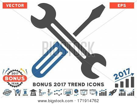Cobalt And Gray Spanner And Screwdriver pictogram with bonus 2017 year trend design elements. Vector illustration style is flat iconic bicolor symbols white background.
