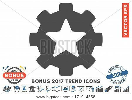 Cobalt And Gray Star Favorites Options Gear pictogram with bonus 2017 year trend images. Vector illustration style is flat iconic bicolor symbols white background.