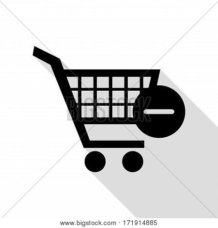 Vector Shopping Cart with Remove sign. Black icon with flat style shadow path.