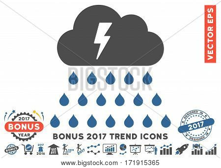 Cobalt And Gray Thunderstorm Rain Cloud pictograph with bonus 2017 trend icon set. Vector illustration style is flat iconic bicolor symbols white background.