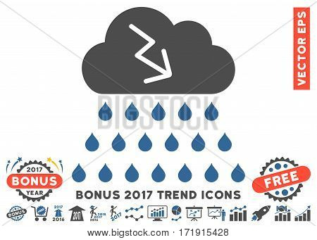 Cobalt And Gray Thunderstorm Rain Cloud pictogram with bonus 2017 year trend design elements. Vector illustration style is flat iconic bicolor symbols white background.