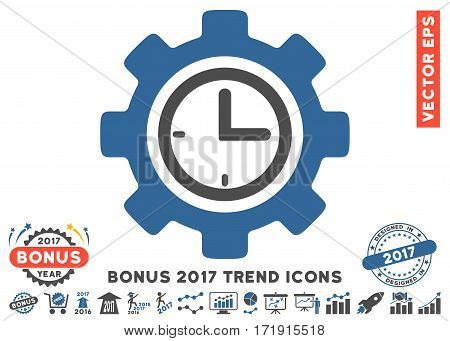 Cobalt And Gray Time Setup Gear icon with bonus 2017 trend pictograms. Vector illustration style is flat iconic bicolor symbols white background.