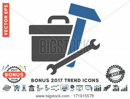 Cobalt And Gray Toolbox pictogram with bonus 2017 year trend clip art. Vector illustration style is flat iconic bicolor symbols white background.