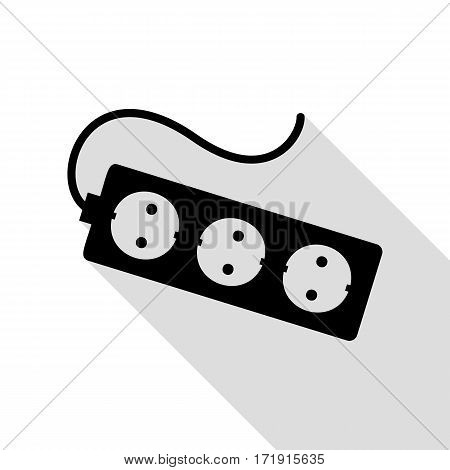Electric extension plug sign. Black icon with flat style shadow path.