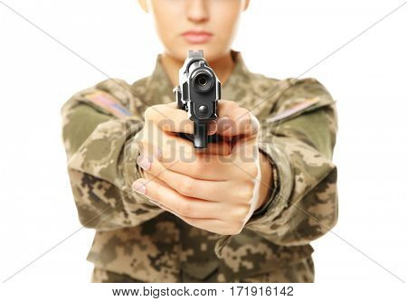 Pretty female soldier with pistol on white background, closeup