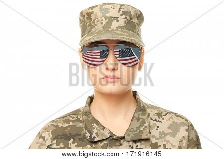 Pretty female soldier with sunglasses, on white background