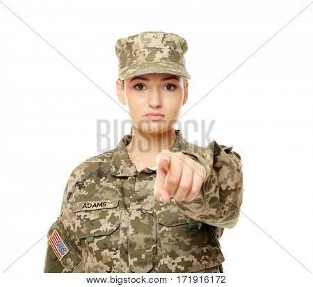 Pretty female soldier on white background
