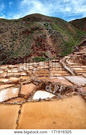Minas de Sal de Maras the salt mines in Maras Cusco Peru