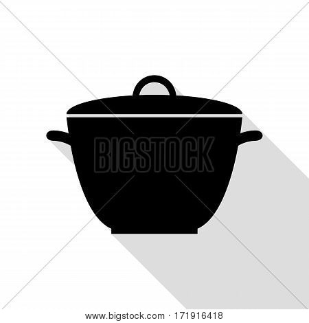 Saucepan simple sign. Black icon with flat style shadow path.