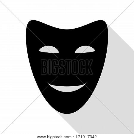 Comedy theatrical masks. Black icon with flat style shadow path.