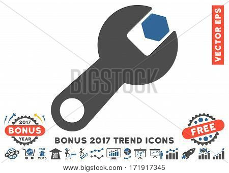Cobalt And Gray Wrench pictograph with bonus 2017 year trend pictograph collection. Vector illustration style is flat iconic bicolor symbols white background.